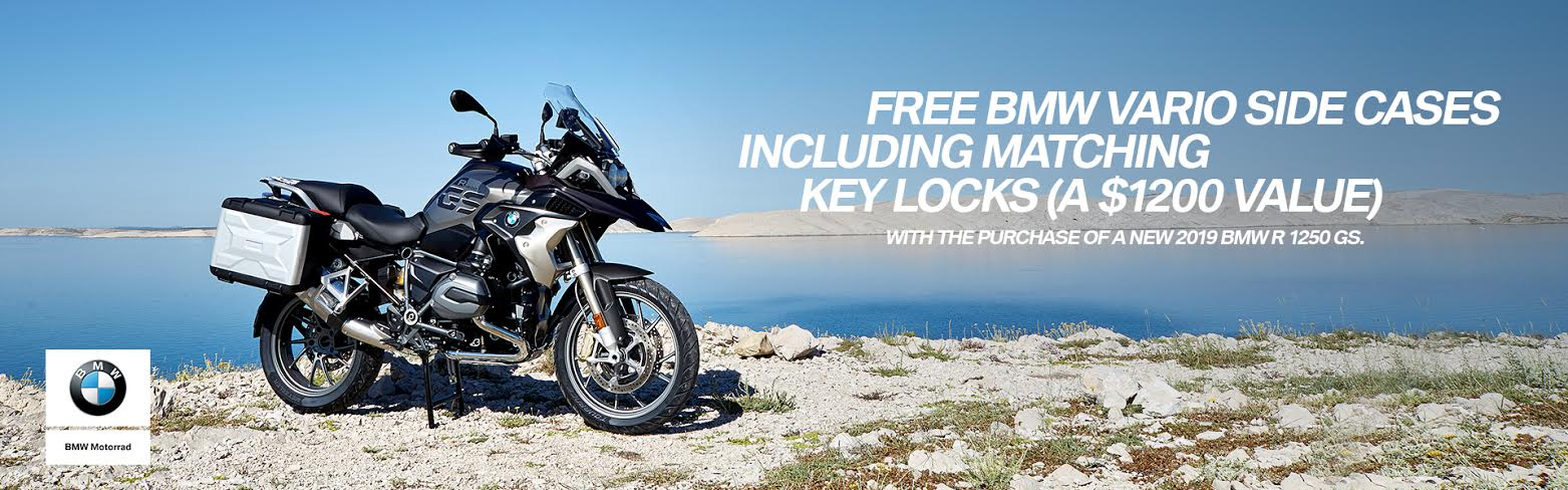 Free Bmw Vario Side Cases Including Matching Key Locks w/ purchase of new 2019 BMW R 1250 GS (opens in a new window)